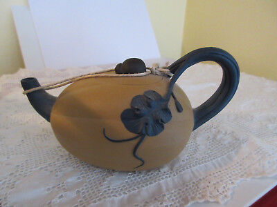 VINTAGE CHINESE YIXING CLAY TEA POT SIGNED FLORAl HANDLE BEETLE