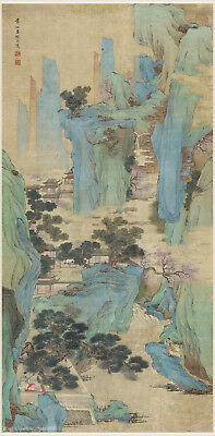 Chinese antique painting Sansui landscape in Color Listen to music in mountain