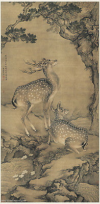Chinese old scroll painting Double deers under cypress by Shen Quan Qing dynasty