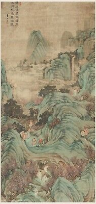 Chinese antique painting Blue green Sansui landscape Immortals in the mountains