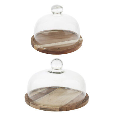 Wooden Cake Cupcake Muffin Display Stand Serving Plate with Cake Dome Lid