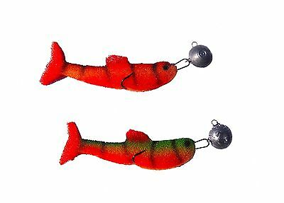 4pcs Vivid Soft Red Tail Fishing Lures ,foam Tackle Jig weedless pike bait