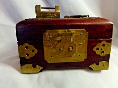 Vintage Shanghai Wood Box, Brass, Carved White Jade and Brass Puzzle Lock