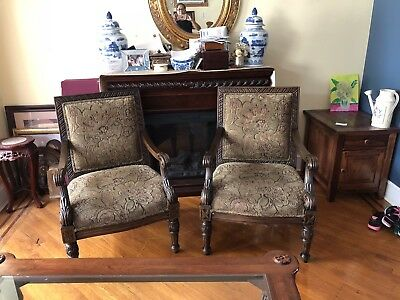 Pair Of Gothic Modern Open Armchairs