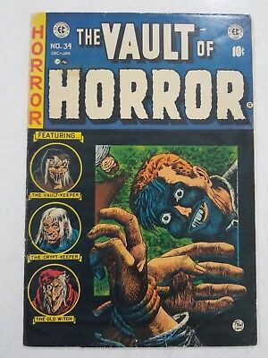 EC Comics Golden Age Vault Of Horror #34 Classic Cover! Very Nice Book