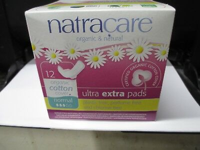 "4 X Natracare, Organic Cotton Ultra Extra Pads ""Normal With Wings""  12 Count Ea."