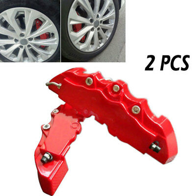 E4F1 3D 2PCS Accessories Car Wheel Brake Dust Resist Durable ABS Red
