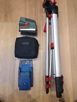 Bosch Pcl 20 Laser Level, Mounting Bracket, Bag and Tripod