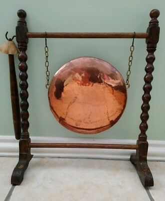 Vintage Copper Dinner Gong With Striker