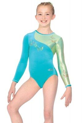 The Zone Flair Jewel Long Sleeve Velour Gymnastics Leotard Green