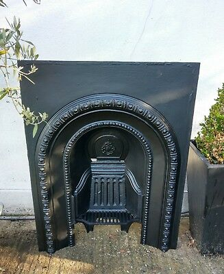 Large Original Antique Victorian Arched Cast Iron Fireplace Insert