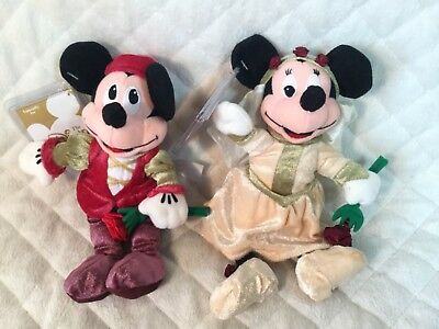 "Disney Store Romeo & Juliet Mickey & Minnie Mouse 8"" Plush NEW WITH TAGS"