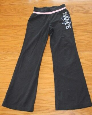 Girls Moret Black Silver Bling Yoga Leotard Dance Pants Size 6-7 Small