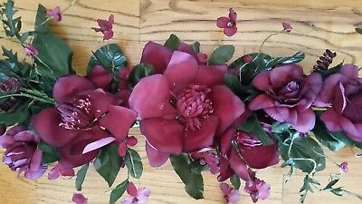 """Home Interior """"Magnolia/Roses"""" Lg Maroon/Burgundy Floral Wall Swag - approx 45"""""""
