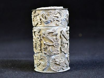 Vintage Tibetan Silver Box Sealed Dragon Phoenix Toothpick Box Decoration