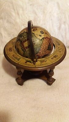 "Vintage Italian Astroligical Zodiac Globe 10"" Old World Style Desk Wooden Stand"
