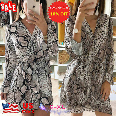 3bf7cadad6e US Woemn Snake Print V-neck Mini Dress Flared Slim Wrap Dress Casual Shirt  Dress