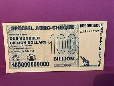 Zimbabwe- Reserve bank 2008-  Z$1 Hundred Billion - 100,000,000,000 Agro-Cheque