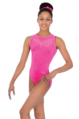 The Zone Crystal Jewel Short Sleeve Velour Gymnastics Leotard Pink