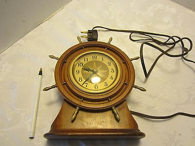 "Vtg Wood CLOCK SETH THOMAS NAUTICAL CLOCK SHIPS WHEEL MARITIME Mahogany  8"" tall"