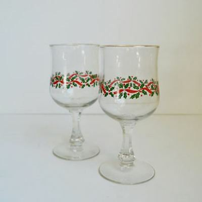 Set 6 Vintage Arby's Holly Berry Christmas Gold Rimmed Wine Glasses/Goblets
