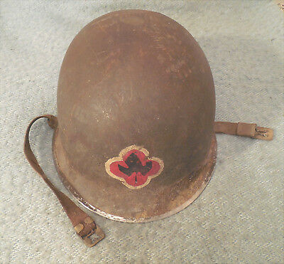 Early WW2 US Military M1 Helmet Front Seam Fixed Bale Special Symbols Chin Strap