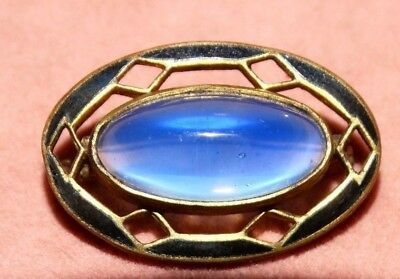 Antique Art Nouveau Deco Black Enamel Blue Moonglow Glass Cab C-Clasp Pin Brooch