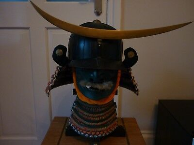 Samurai Helmet With Full Face And Stand Reproduction Great Quality And Condition