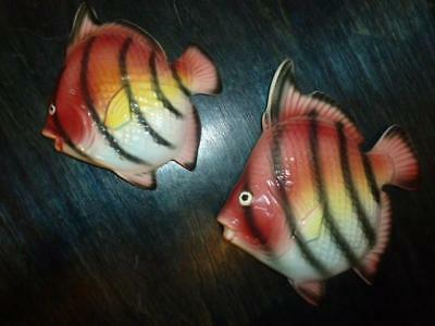 2 Vintage Red Foil Painted Ceramic Striped Wall Fish