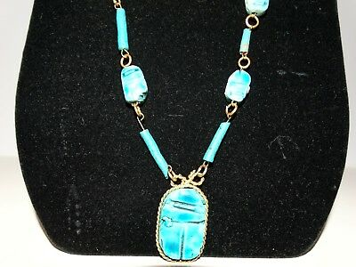 Vintage Egyptian Revival Faience Ceramic Blue Scarab Beetle Bead Necklace
