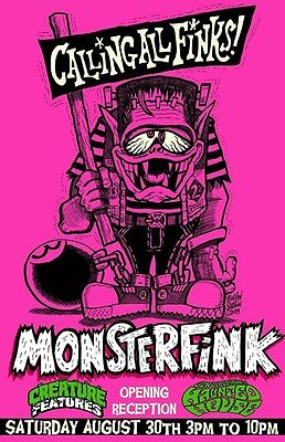 MONSTERFINK Rat Fink BIG DADDY ROTH Ltd #/100 SIGNED Poster ART PRINT Von Strawn