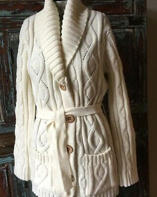 70s Vintage ~ Chunky Cable Knit Cardigan Sweater ~ Belted w/ Wood Buttons ~ NICE