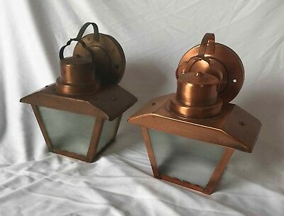 Vintage Pair of Copper Wall Sconces w/ Textured Glass - Mid Century