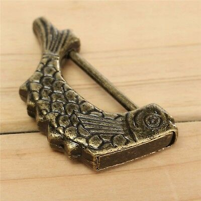 Vintage Chinese Padlock Antique Old Style Retro Brass Jewelry Box Fish Lock Key