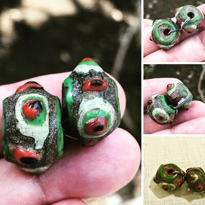 Ancient  Late Roman BC/AD pair of Mosaic beads eye intact very rare