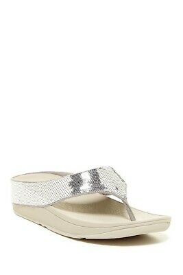 094ca8f59d92a0 FITFLOP RINGER WEDGE Flip Flops Silver Sequin Womens Sandals Size 7 ...