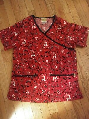 CHRISTMAS Themed Nursing Scrub Top --Size Small--Reindeer and Snowflakes