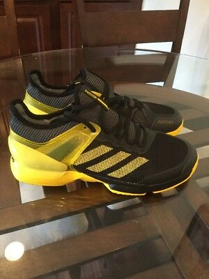 reputable site 24ffb 1bd0c Adidas Adizero Mens Size 13 Ubersonic 2 Clay Black Yellow Tennis Shoes  CG3085