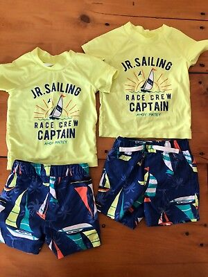 Baby Boy, Twins, Carters, Size 12 Months, Bathing Suit, Sun Shirts, Swim