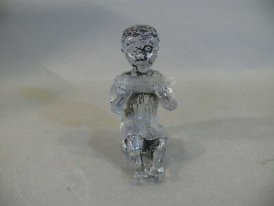 Rare Antique Clear Glass Black Boy Child Eating Watermelon African American Toy