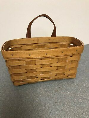 Vtg 1994 Longaberger Medium Key Basket  & Leather Strap