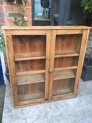 Gorgeous Old Glazed Pine Shelved Cupboard