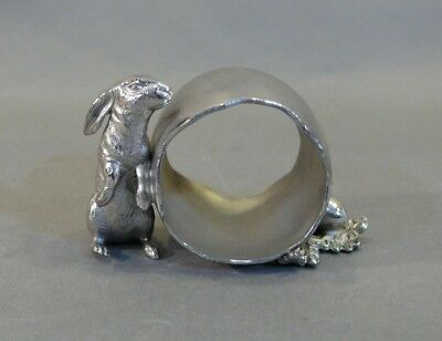 Antique Silverplate Figural Napkin Ring BUNNY RABBIT LOOKING FOR EGGS Victor Co