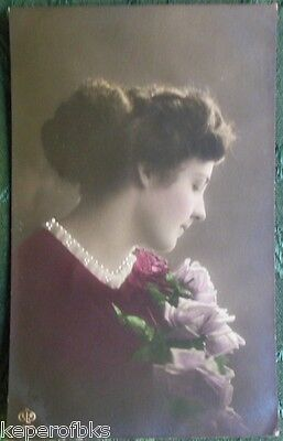 French Country Lady-Hand Tinted Antique Vintage RPPC Real Photo Postcard