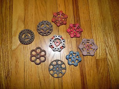 9 Antique & Vintage Cast Iron & Aluminum Shut Valve Handles Steampunk Art