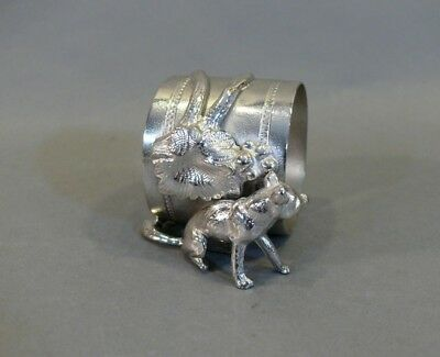 Antique Silverplate Figural Napkin Ring SITTING FOX HIDING WITH FLOWERS