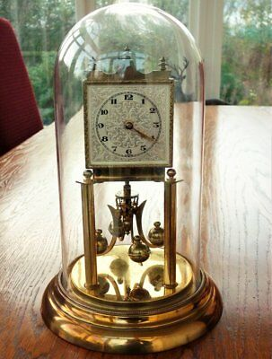 Large Vintage German Anniversary clock Brass with Glass Dome ~ Working