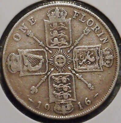 British Florin - 1916 - King George V - $1 Unlimited Shipping