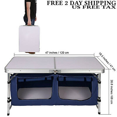 Finether Height Adjustable Folding Table with Large 2-Compartment Storage Bag