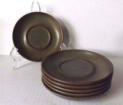 Six Denby Langley Stonewear  Brown Samarkand Coffee Saucers